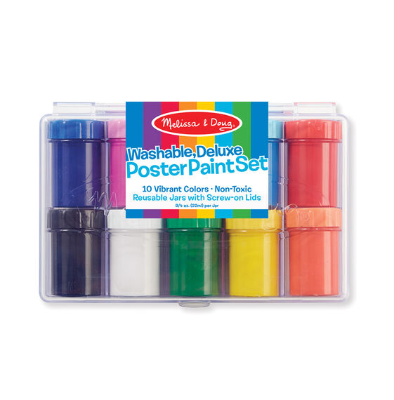 10 multi-colored poster paint pots in packaging