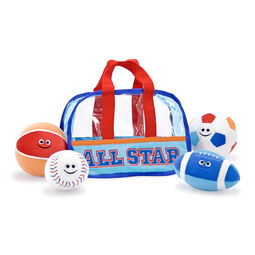 Plush sports bag and balls