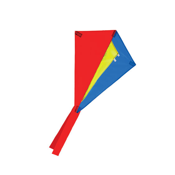 Red, yellow, and blue rhombus shaped kite with red tail