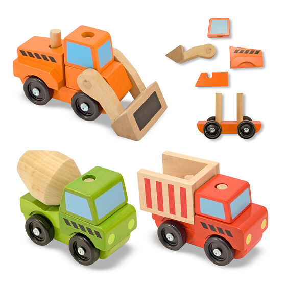 Wooden construction vehicles with stacking wooden pieces
