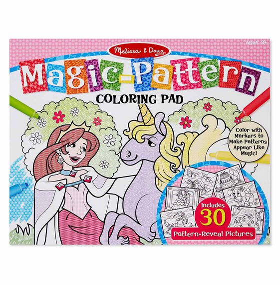 Magic-Pattern Marker Kids\' Coloring Pad - Princesses, Ponies, Parties, and  More
