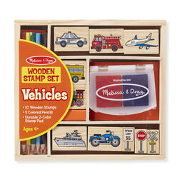 Wooden vehicle themed stamps with colored pencils and stamp pad in packaging