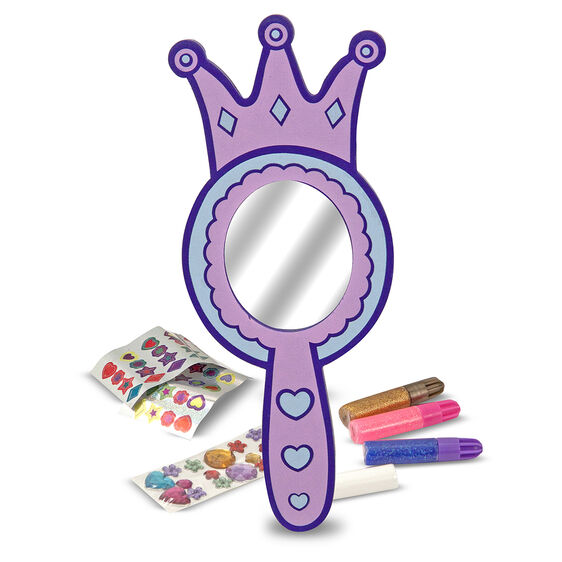 Purple wooden hand mirror and decoration materials