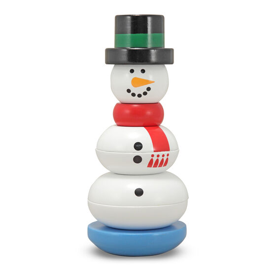 Wooden snowman stacker with rocking blue base, red scarf, and black and green hat