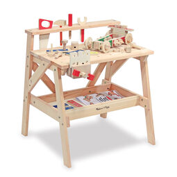 Wooden workbench with various toy wooden tools