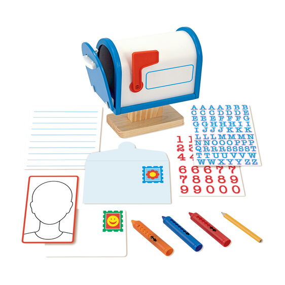 Wooden mailbox with envelopes, postcards, letter and number stickers, wipe-clean crayons and pencil