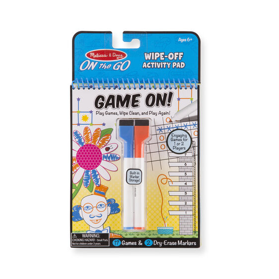 Dry-erase activity pad with dry-erase markers