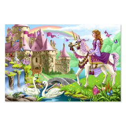 48 piece floor puzzle with girl on unicorn and princess castle