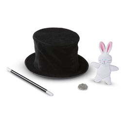 Magic wand, top hat, and plush rabbit