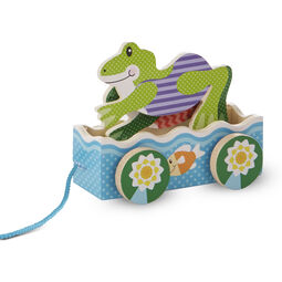 Wooden frogs rolling pull toy