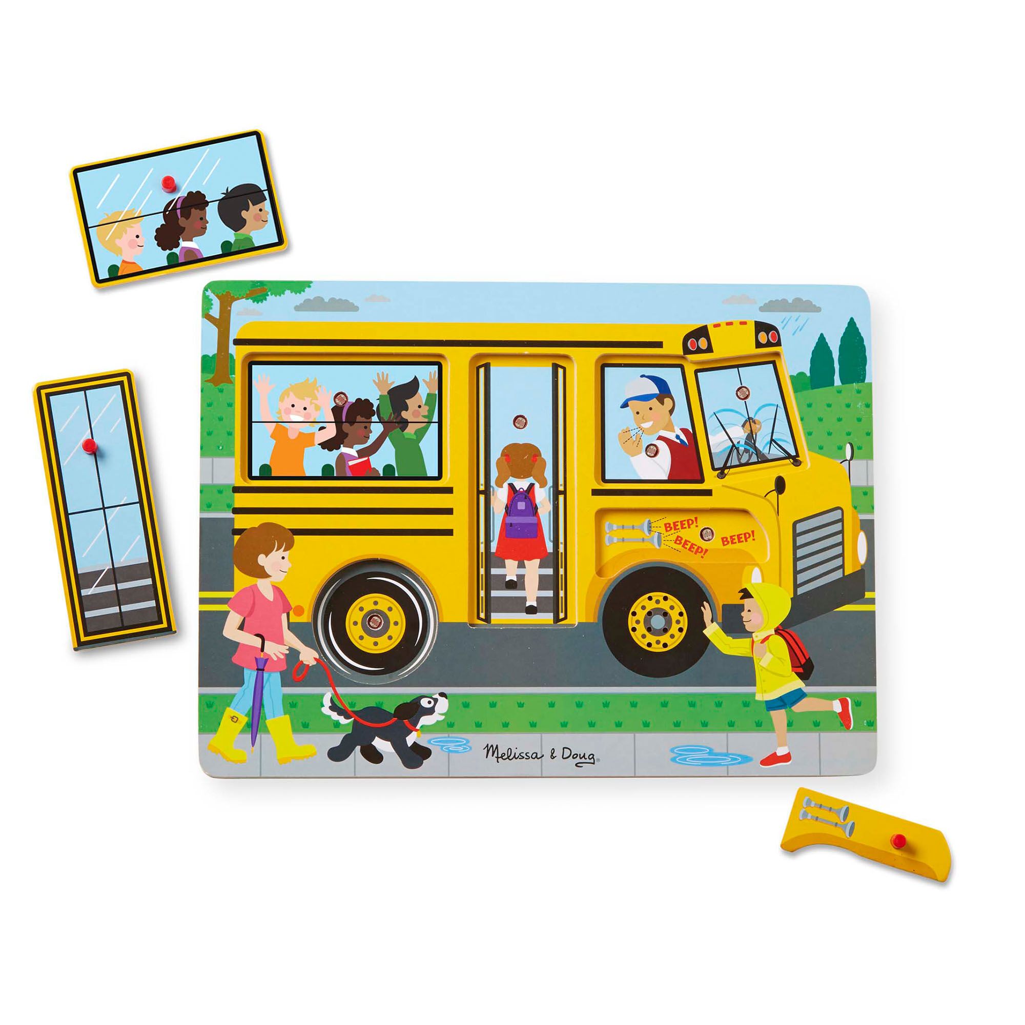 Wooden Jigsaw Floor Puzzle for Kids 24 Piece Vehicles Puzzles Storage in School Bus Toy