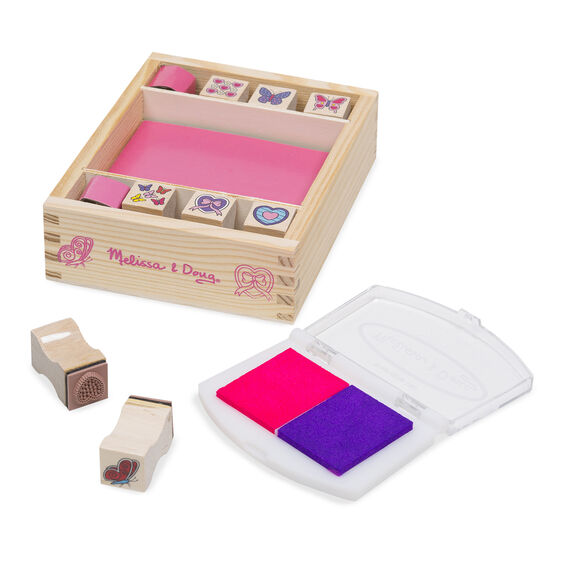 Butterflies and hearts themed wooden stamps and stamp pad with wooden case