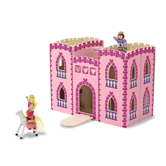 Foldable wooden princess castle with wooden dolls and horses