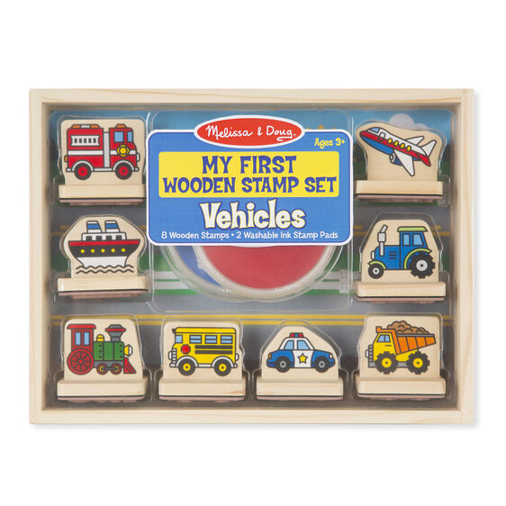 Vehicle themed wooden case and stamps with stamp pads in packaging