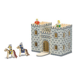Wooden foldable castle with wooden dolls and horses
