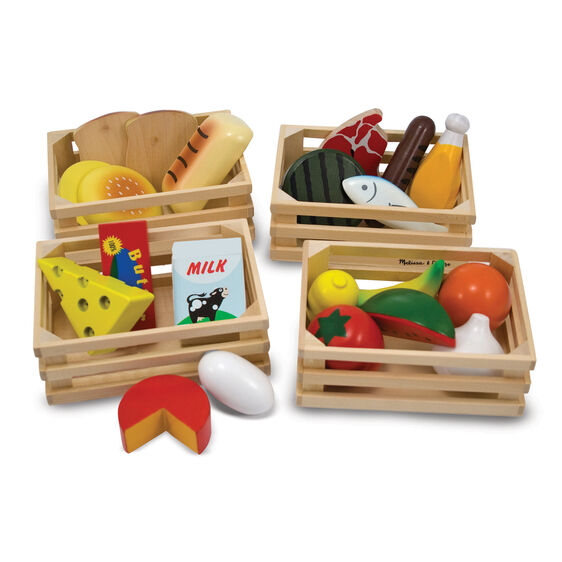 Four wooden cases filled with various wooden food items