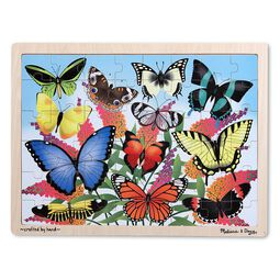 Butterfly themed wooden puzzle in wooden tray
