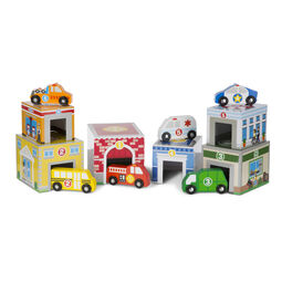 Wooden buildings and vehicles nesting and sorting blocks