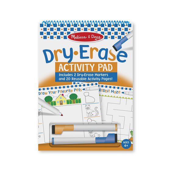 Dry erase activity pad with markers in packaging