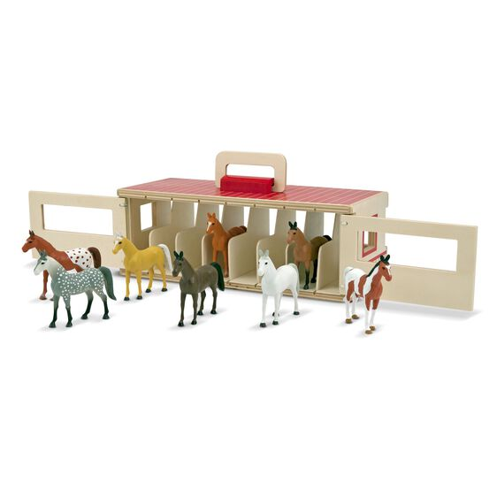 Wooden show-horse stable with horse figures