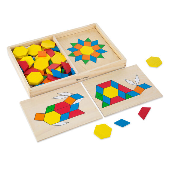 Wooden case with various wooden pattern pieces and boards