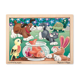Pet themed wooden puzzle with wooden case