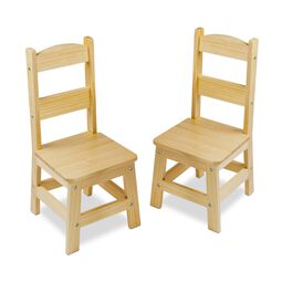 Pair of Solid Wood Chairs 2-Piece Set