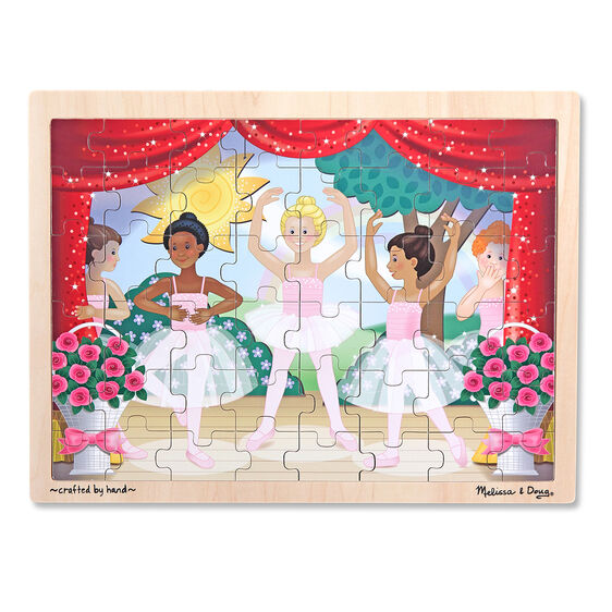 Ballerina themed wooden puzzle in wooden themed