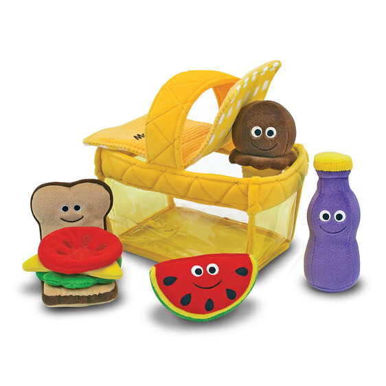 Plush lunchbox and smiling food items