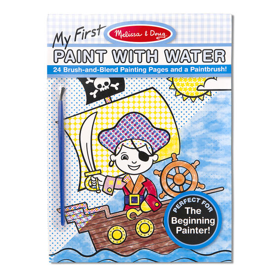 Paint with water art pad with pirate cover and paintbrush in packaging