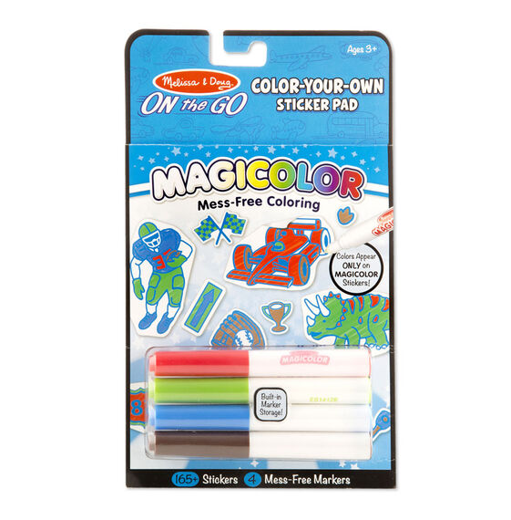 On the Go Magicolor Color-Your-Own Sticker Pad - Vehicles, Sports, and Dinosaurs