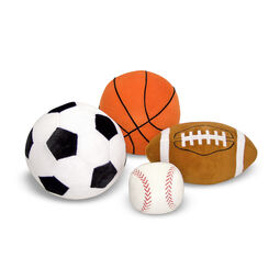 Soccer, basketball, football, and baseball pillows