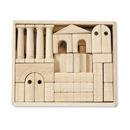 Wooden architectural blocks in wooden case