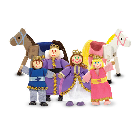 Royal family and horses wooden dolls