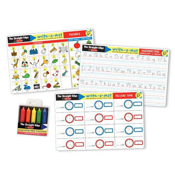 Basic skills learning mat set with retractable crayons