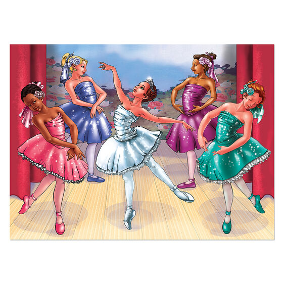 Completed puzzle with five ballerinas