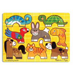 Eight piece pets peg puzzle with yellow background