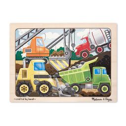 Construction themed wooden puzzle with wooden case