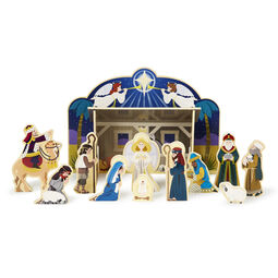 Wooden Christmas nativity set with wooden figures