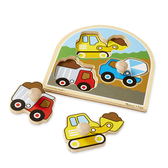 Three piece construction site jumbo knob puzzle with construction vehicle pieces