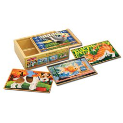 Bird, Dog, Fish, and Cat jigsaw puzzles in wooden box