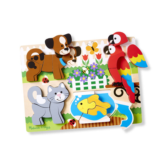 20 piece chunky puzzle with Dog, Parrot, Cat, and Goldfish with three pieces removed