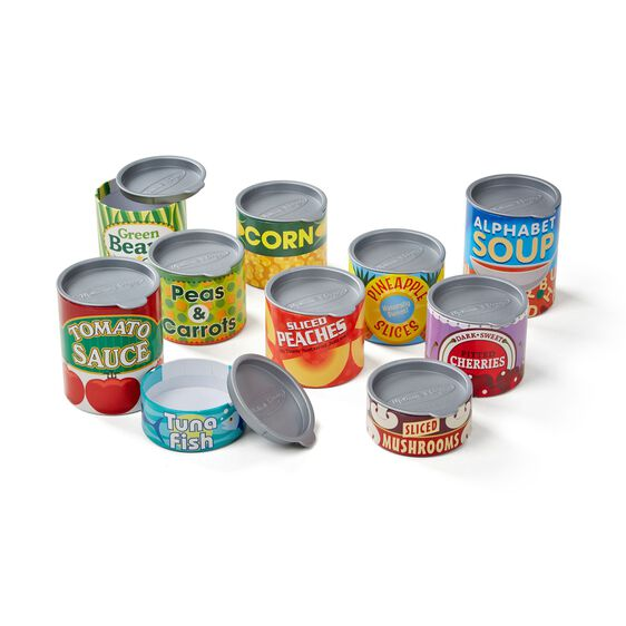 Various pretend grocery cans