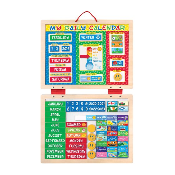 Two panel hanging wooden container with magnetic calendar pieces of various shapes and sizes
