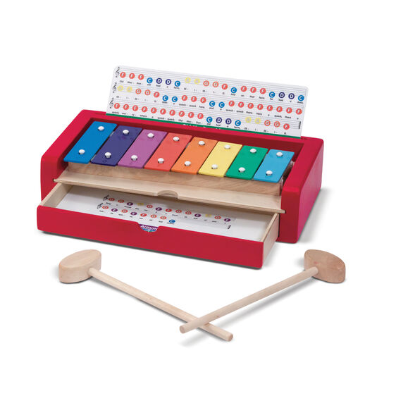 Xylophone with wooden mallets and music paper drawer