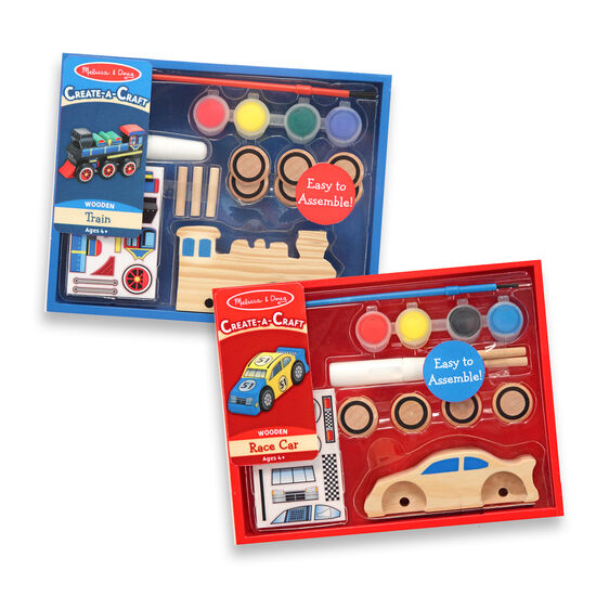 Decorate-Your-Own Wooden Train and Race Car Craft Kit