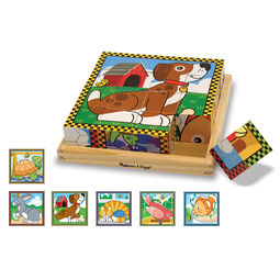 Nine piece pets wooden cube puzzle showing dog picture