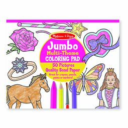 Jumbo 50-Page Kids' Coloring Pad - Horses, Hearts, Flowers, and More