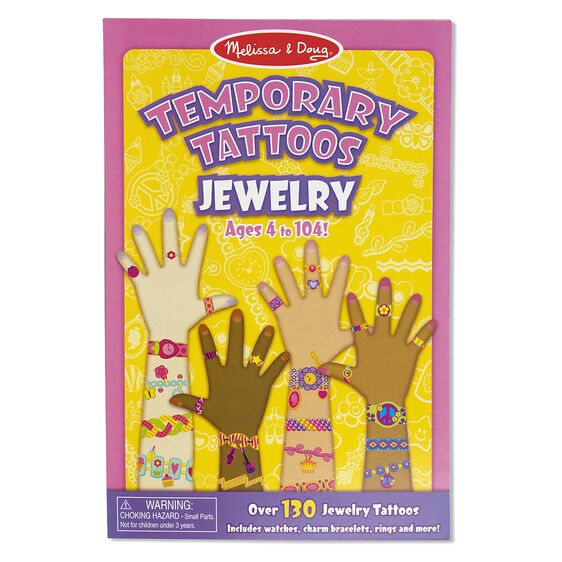 Jewelry themed temporary tattoos in packaging