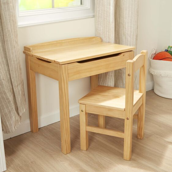 Wooden lift-top desk and chair